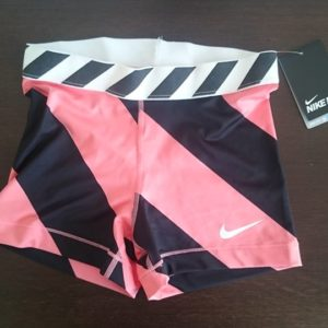 """Sporting shorts """"Nike Pro Compression"""" - black and pink stripes"""