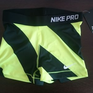 """Sporting shorts """"Nike Pro Compression Supercool"""" - black and green stripes"""